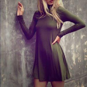 Lulus Olive Green Turtleneck Dress